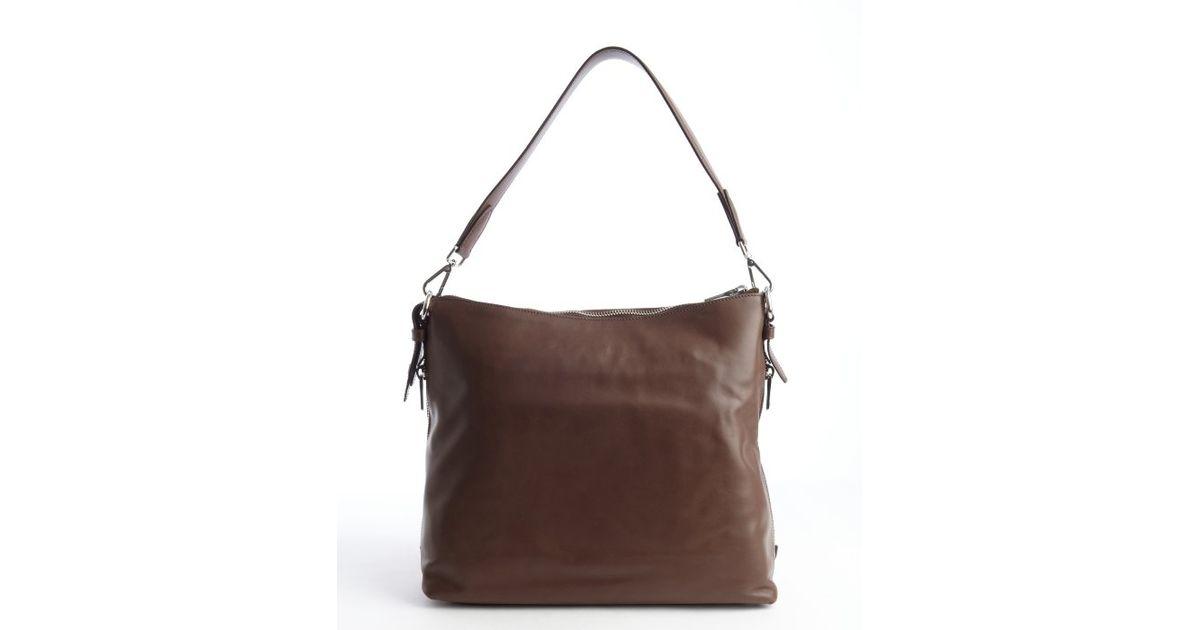 e9c24ea4ec4b Lyst - Prada Dark Brown Pebbled Leather Hobo Bag in Brown