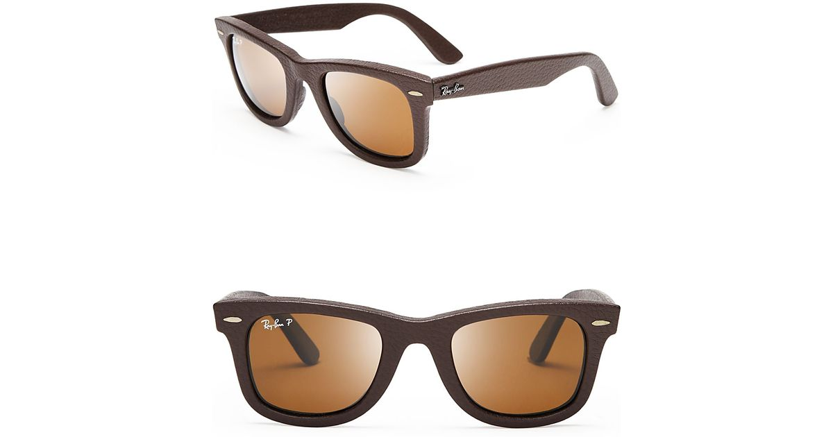 64ec38927f ... uk lyst ray ban polarized leather wayfarer sunglasses in brown for men  23367 9912d