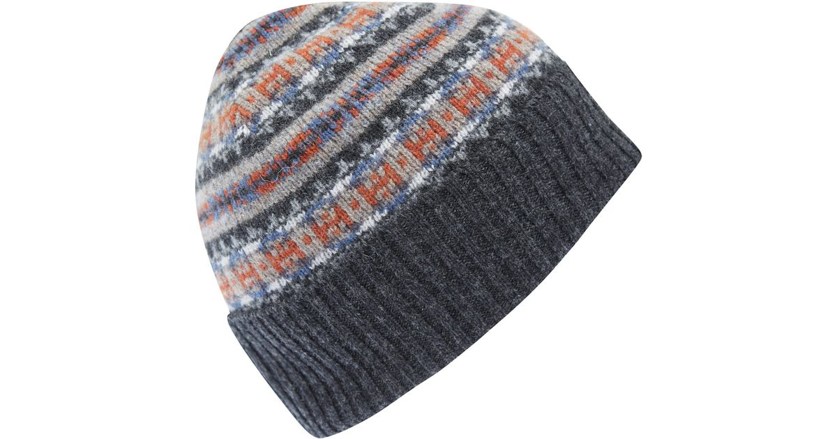 ff98508c50c Barbour Grey Melrose Fairisle Wool Beanie Hat in Gray for Men - Lyst