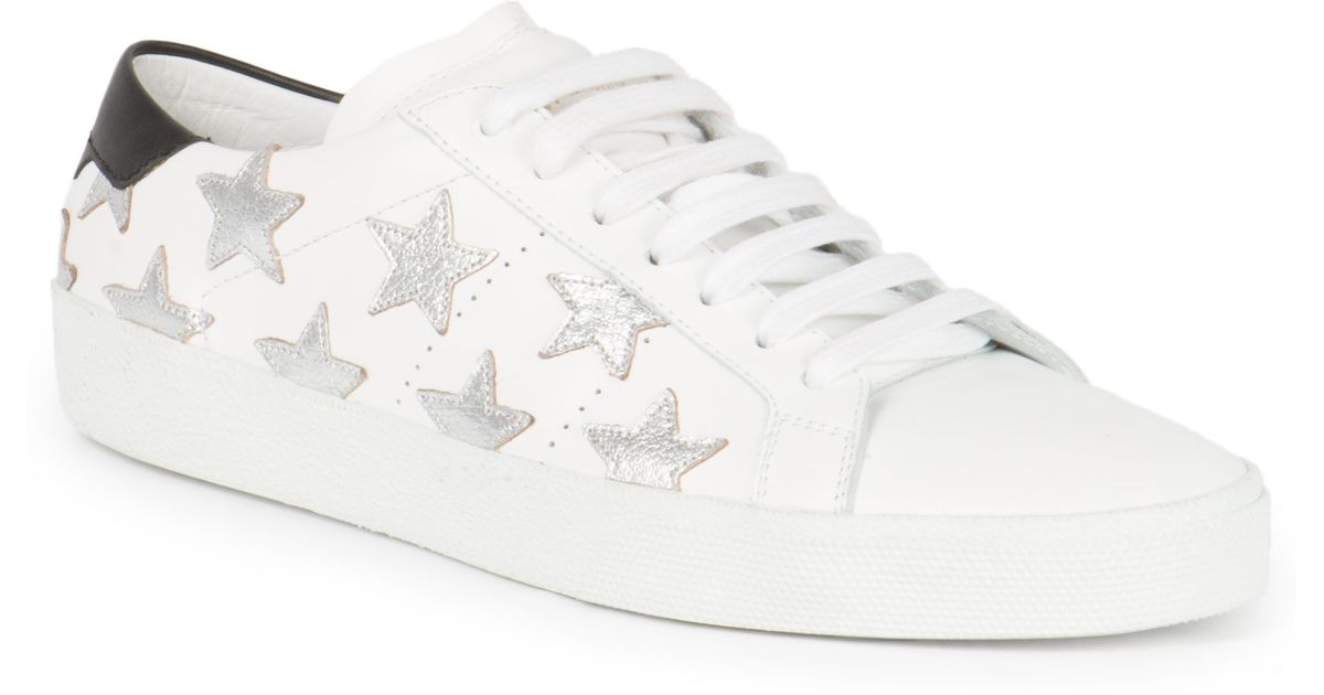 ce6404899329 Lyst - Saint Laurent Leather Classic Court Star Sneakers in White for Men