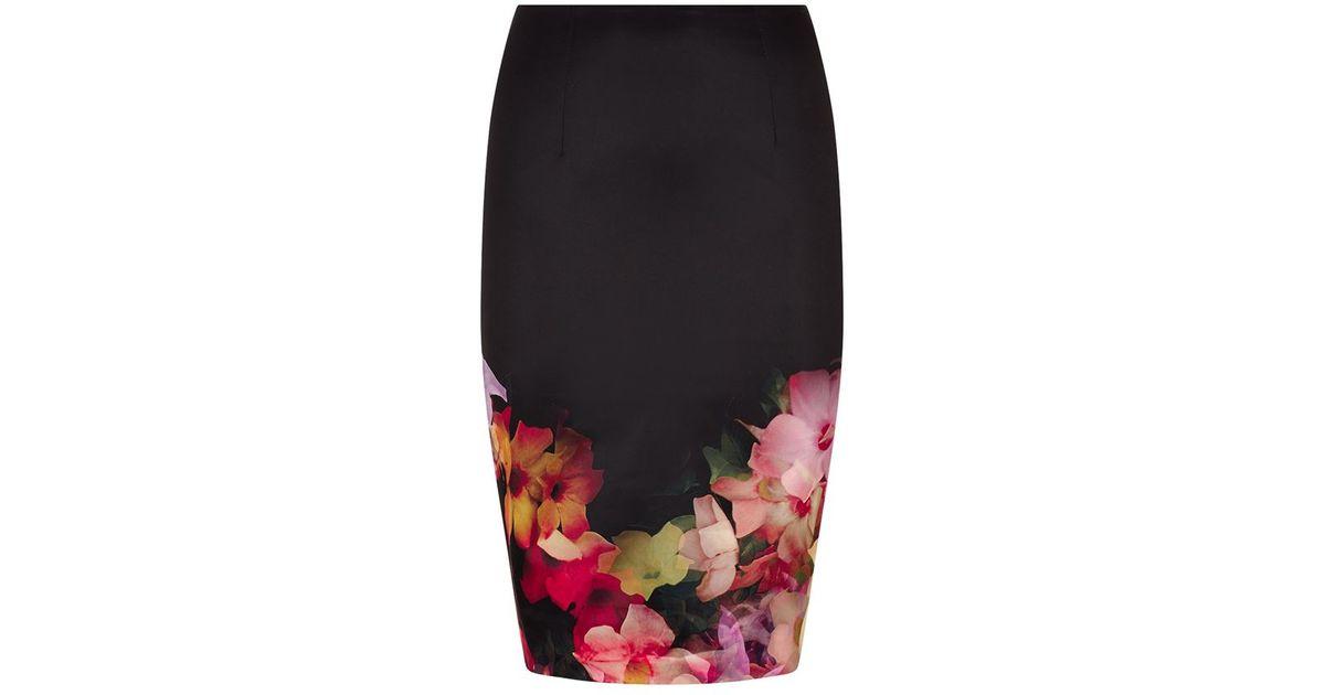 a045b70db Ted Baker Kaikai Cascading Floral Pencil Skirt in Black - Lyst