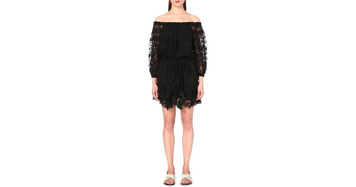 Lyst Chlo Off The Shoulder Floral Lace Dress In Black