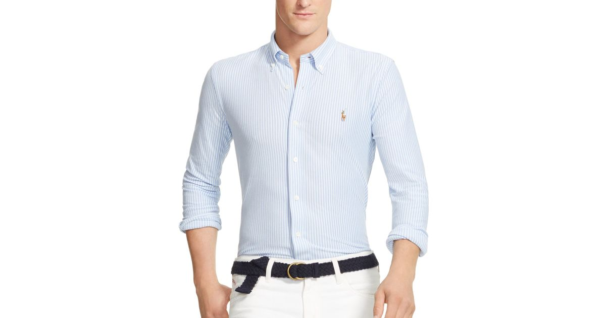 afad8e96d Polo Ralph Lauren Striped Knit Oxford Slim Fit Button Down Shirt in White  for Men - Lyst