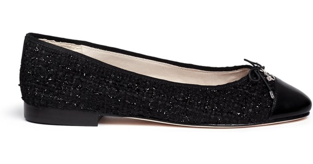 28acc49a7a84e1 Lyst - Sam Edelman  sara  Leather Toe Cap Bouclé Tweed Flats in Black