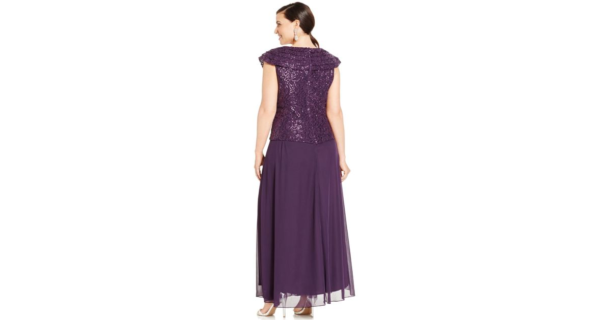 Patra Purple Plus Size Cap Sleeve Sequined Lace Gown Lyst