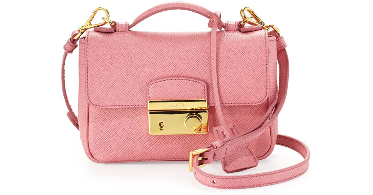 0b97340e6 ... germany prada saffiano rounded mini sound bag in pink lyst 4f979 d41ce  ...