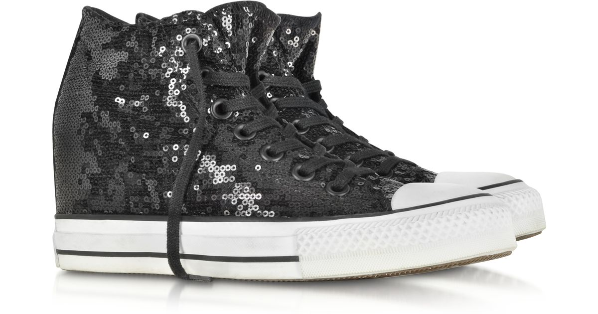 f08c9591eb8 Lyst - Converse All Star Mid Lux Black Sequins And Canvas Wedge Sneaker in  Black