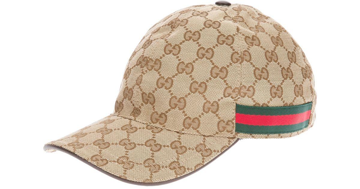 Lyst - Gucci Unisex Emblem Print Cap in Natural for Men cc11f72d795
