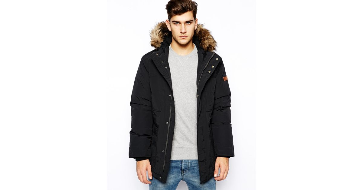 Esprit Parka Jacket with Hood in Black for Men | Lyst