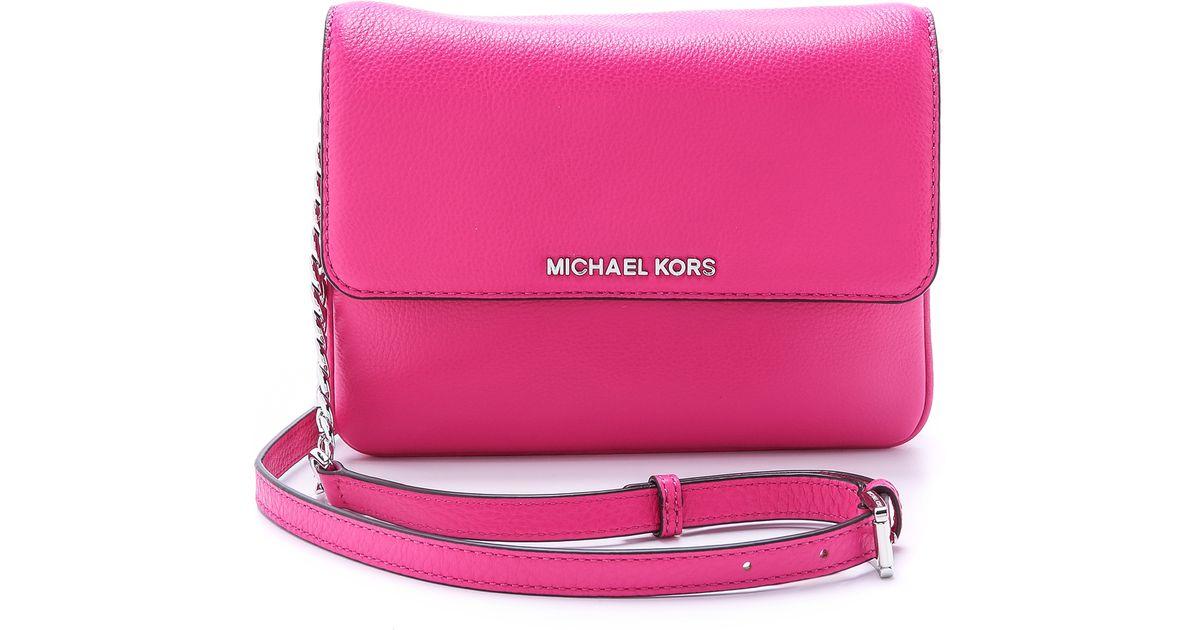 11f17c1bd92b ... shopping lyst michael michael kors bedford double gusset cross body bag  raspberry in pink 5c915 29fe5 ...