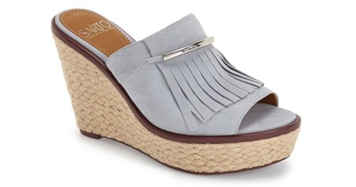 Lyst Franco Sarto Candace Wedge Mule In Blue