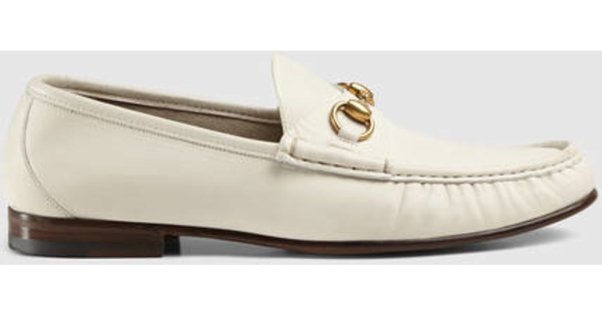 db260f34391 Lyst - Gucci 1953 Horsebit Leather Loafer in White for Men