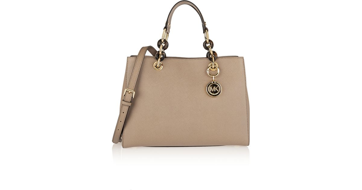 fae3ff2cc8f6 ... coupon code for michael michael kors cynthia medium textured leather  tote in natural lyst 3df67 dd140