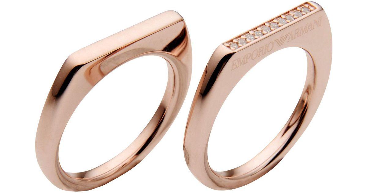 emporio armani ring in gold copper lyst