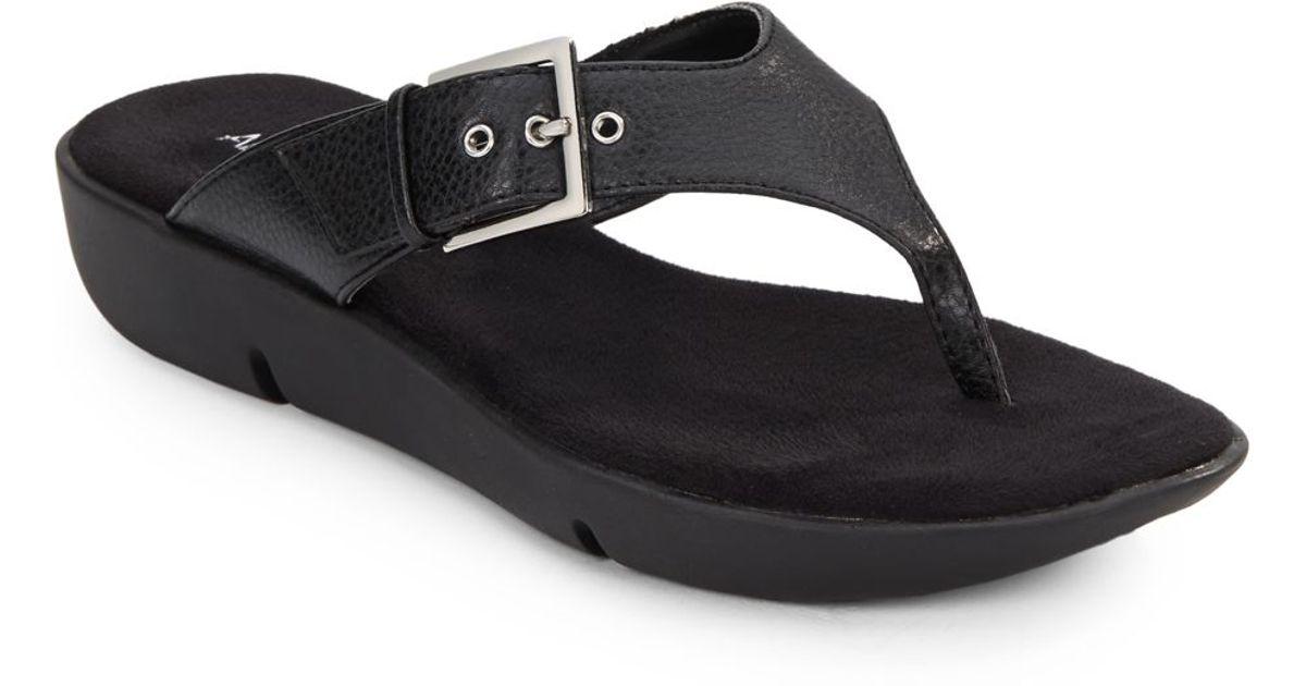 0feab606597 Lyst - Aerosoles Tex Mex Faux Leather Wedge Thong Sandals in Black