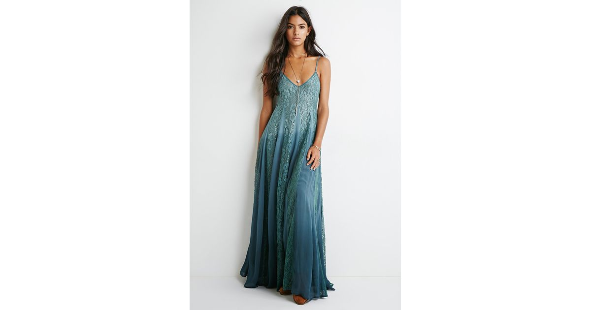 721870498013 Lyst - Forever 21 Lace-paneled Maxi Dress in Blue