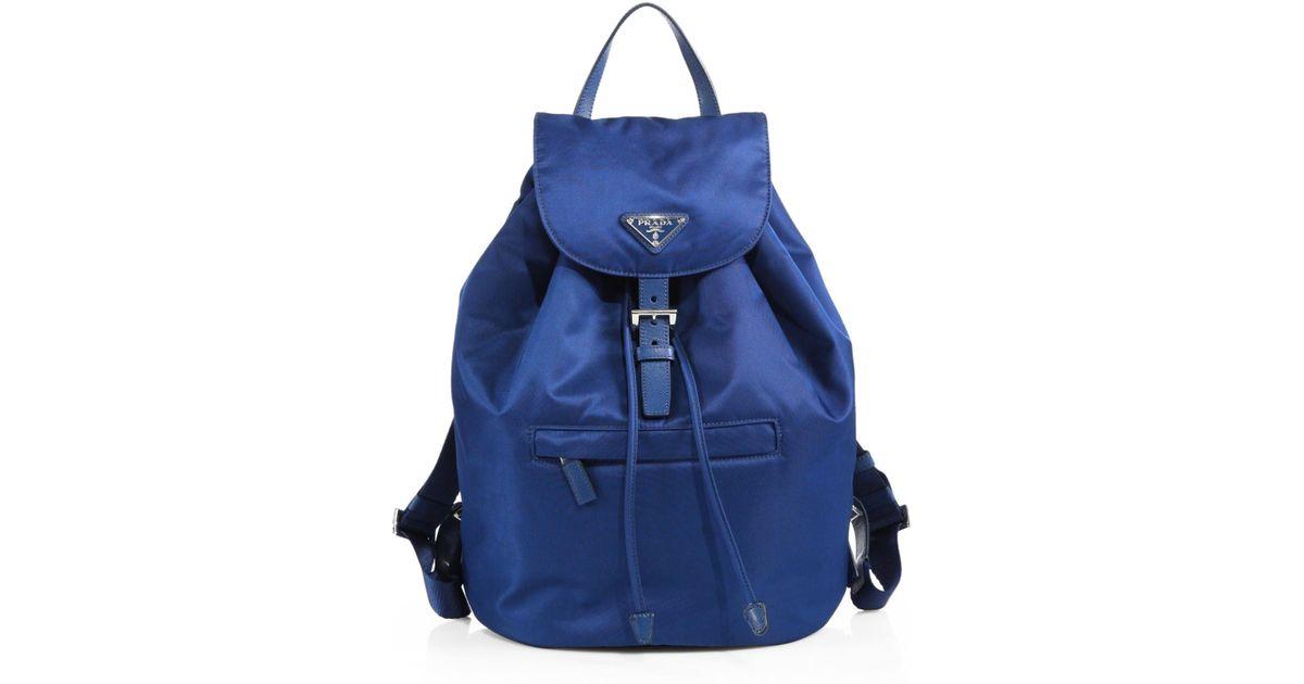 Prada Vela Backpack in Blue (royal blue) | Lyst