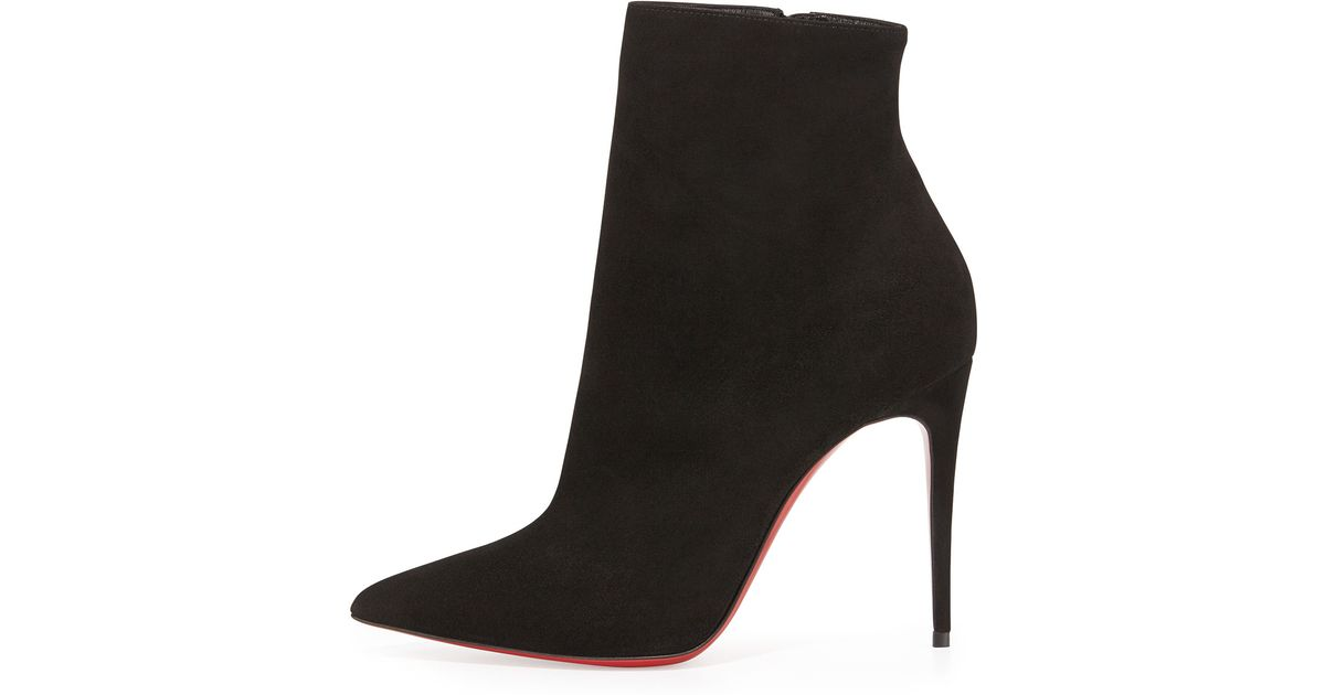 153b07cfaebd2 Lyst - Christian Louboutin So Kate Booty Suede Red Sole Ankle Boot in Black