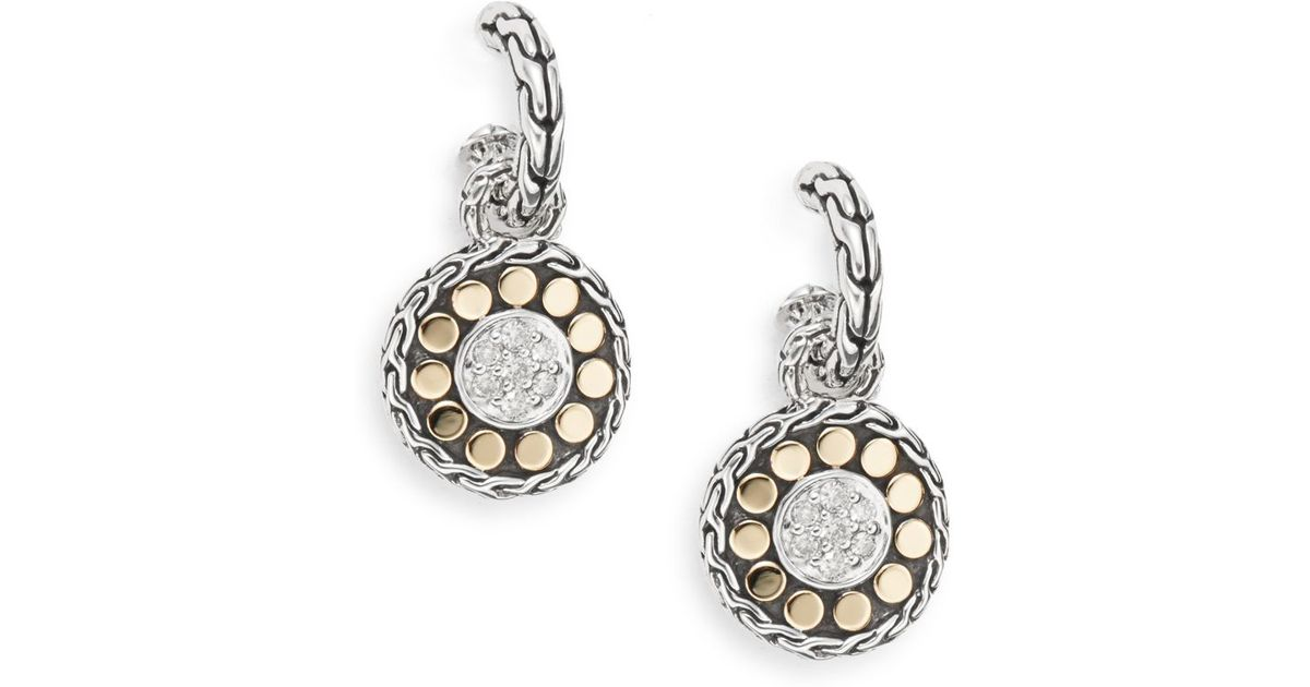 John Hardy Dot Silver Drop Earrings H8oREYnpSb