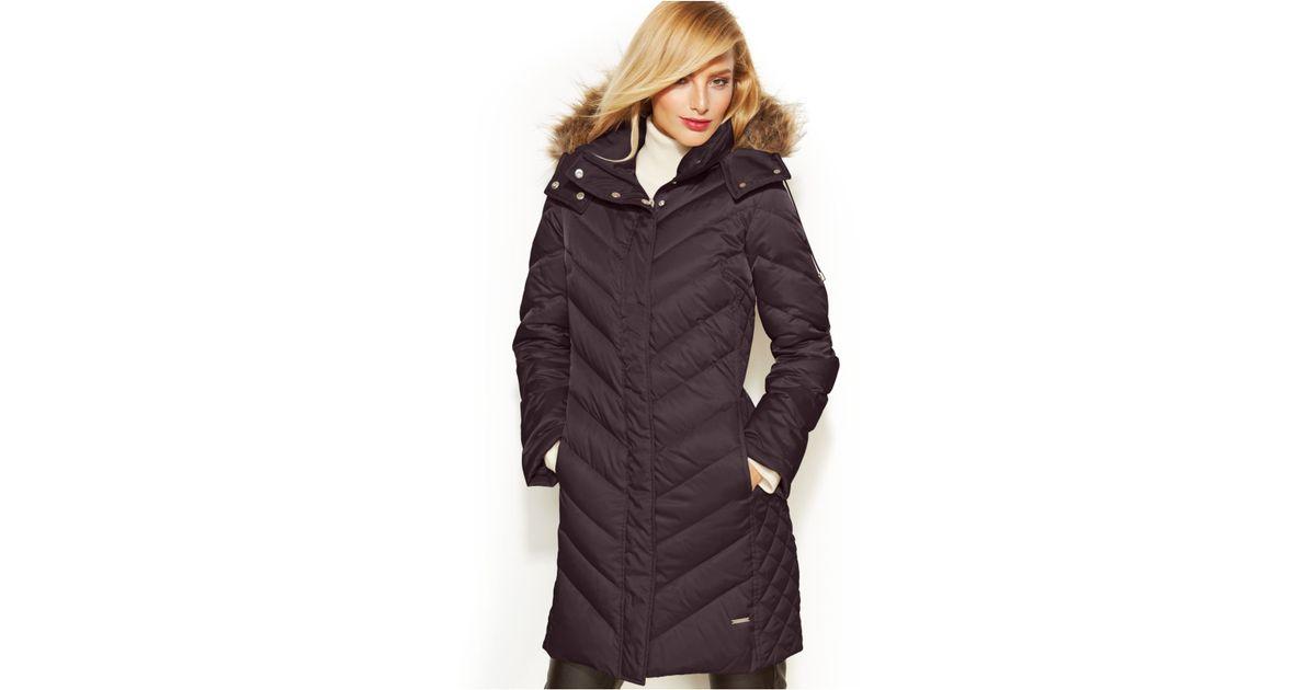 Kenneth cole Faux-fur-trim Chevron Quilted Down Coat in Brown | Lyst : kenneth cole chevron quilted coat - Adamdwight.com