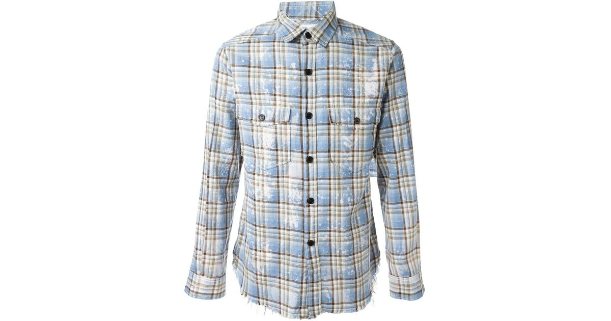 Saint laurent bleached plaid shirt in yellow for men blue for Blue and yellow plaid dress shirt