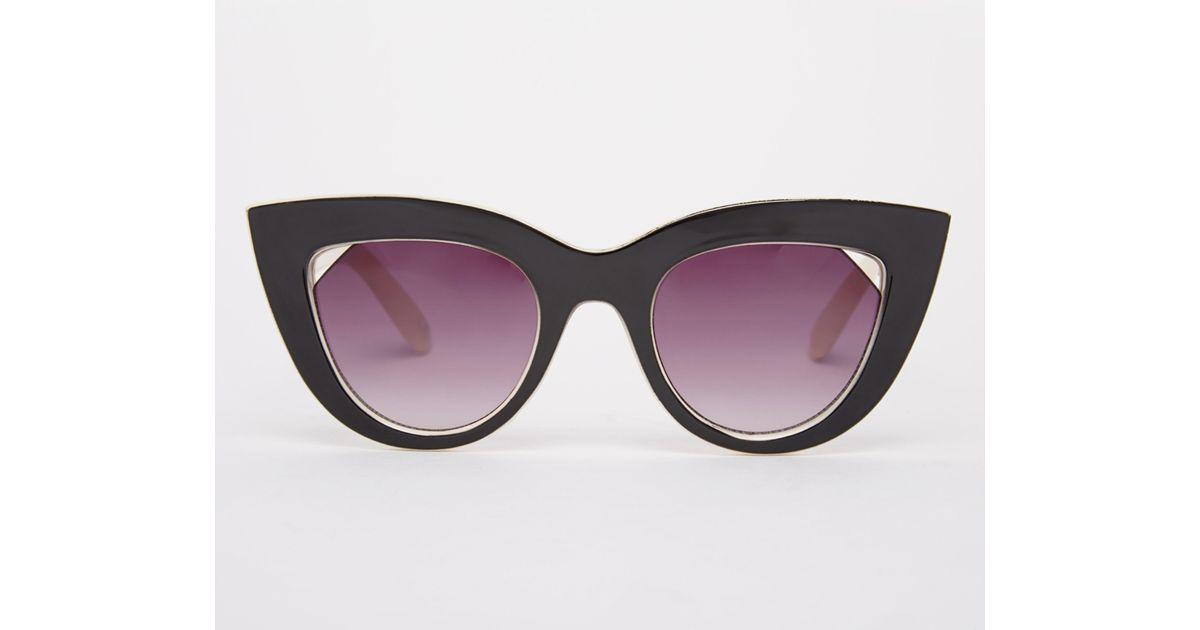 7aadc005bb60 Lyst - ASOS Flat Top Cat Eye Sunglasses With Cut Away Lens in Black