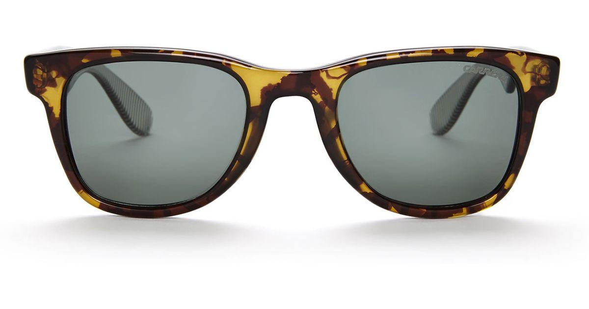 564a6b3203 Lyst - Carrera 6000 Yellow Printed Polarized Wayfarer Sunglasses in Yellow