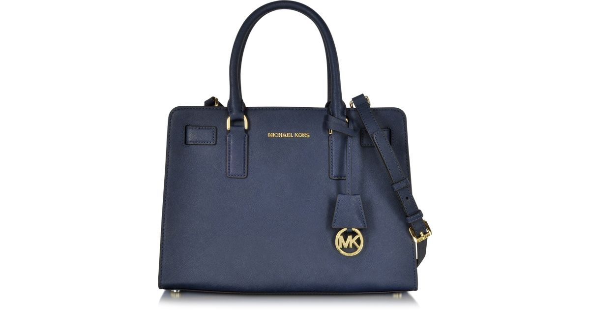 afa92cdc0b ... Michael kors Dillon Saffiano Leather Satchel in Blue Lyst ...