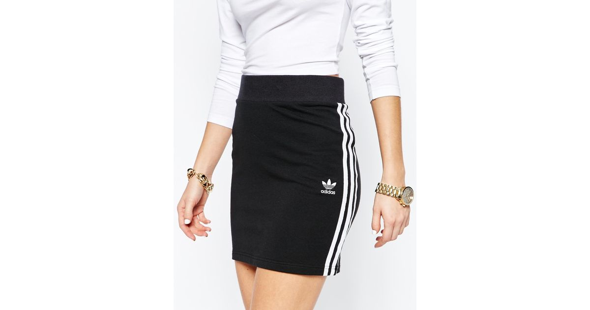 wholesale dealer cd975 7f6be adidas Originals Originals Adicolour Mini Bodycon Skirt With 3 Stripe Logo  in Black - Lyst