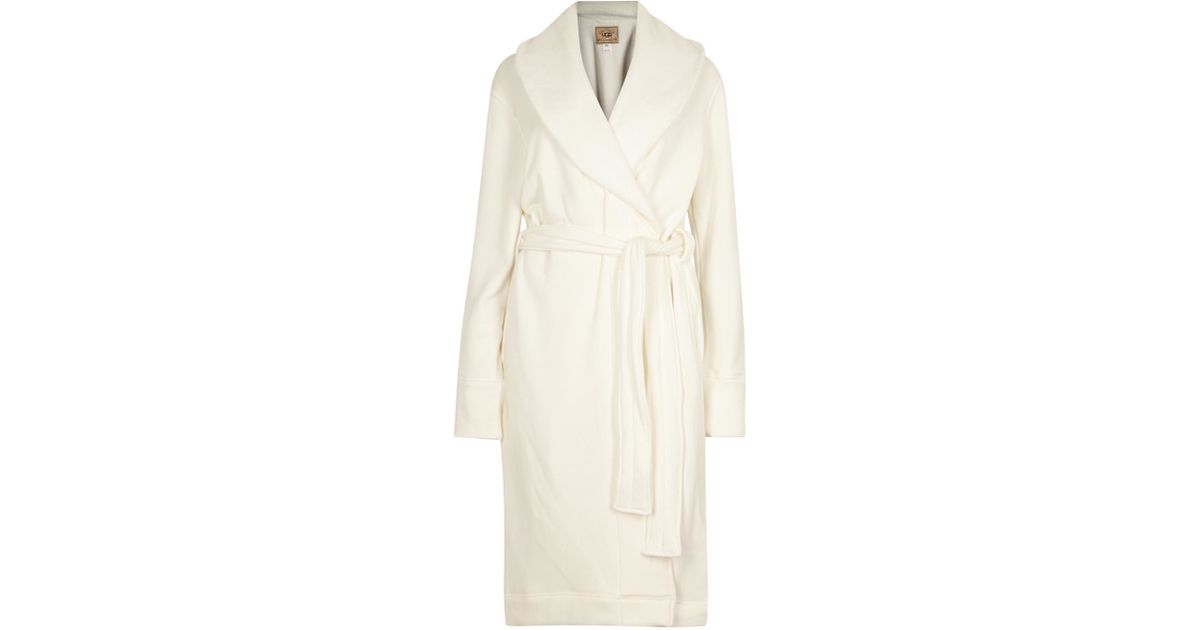 Ugg Duffield Cream Cotton Jersey Dressing Gown in Natural - Lyst