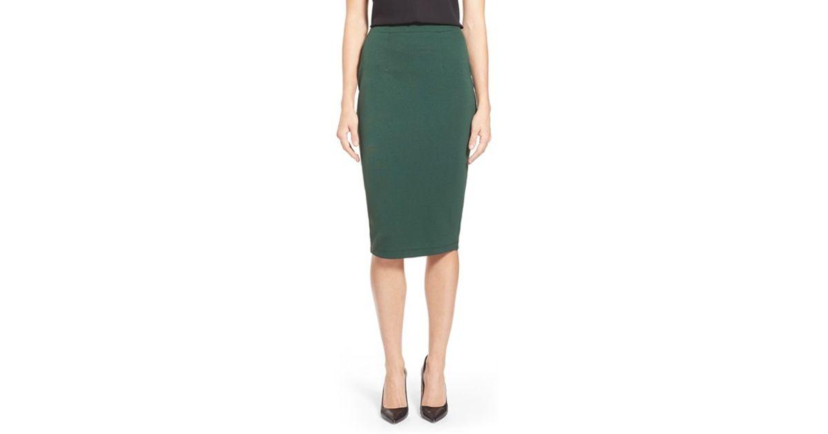 7017c5b1466 Lyst - Halogen Zip Back Knit Pencil Skirt in Green