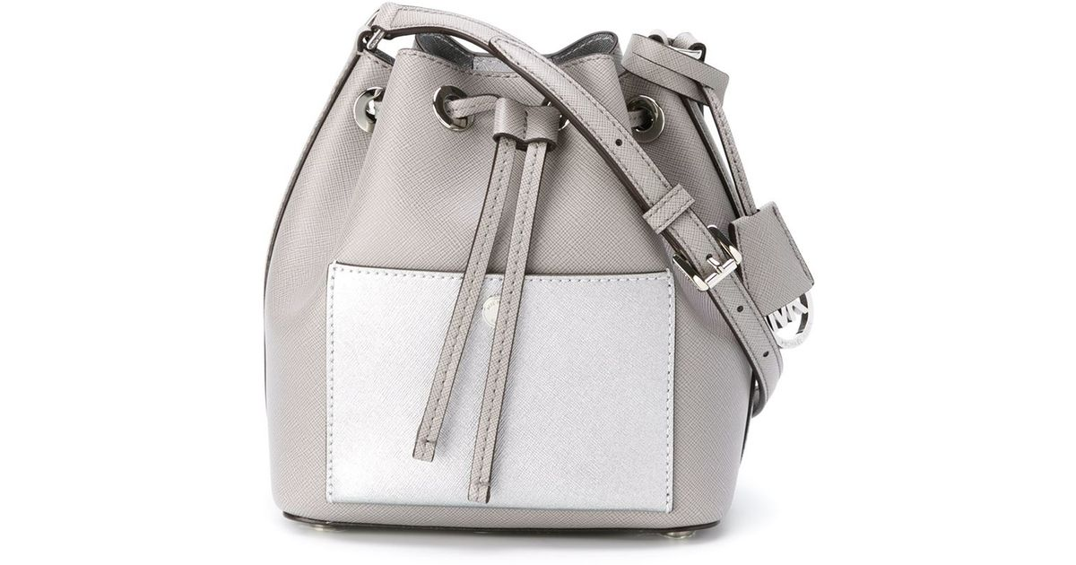 ae3f7c127801 Lyst - MICHAEL Michael Kors Greenwich Small Leather Cross-Body Bag in Gray