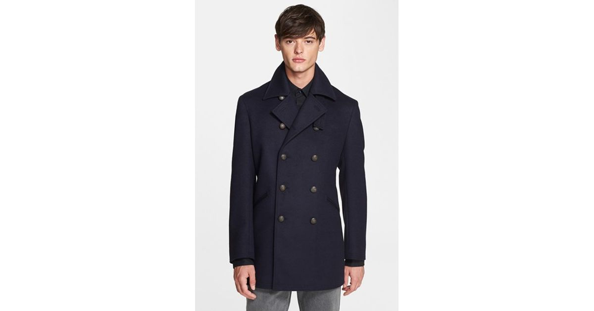 John varvatos Wool & Cashmere Peacoat in Blue for Men | Lyst