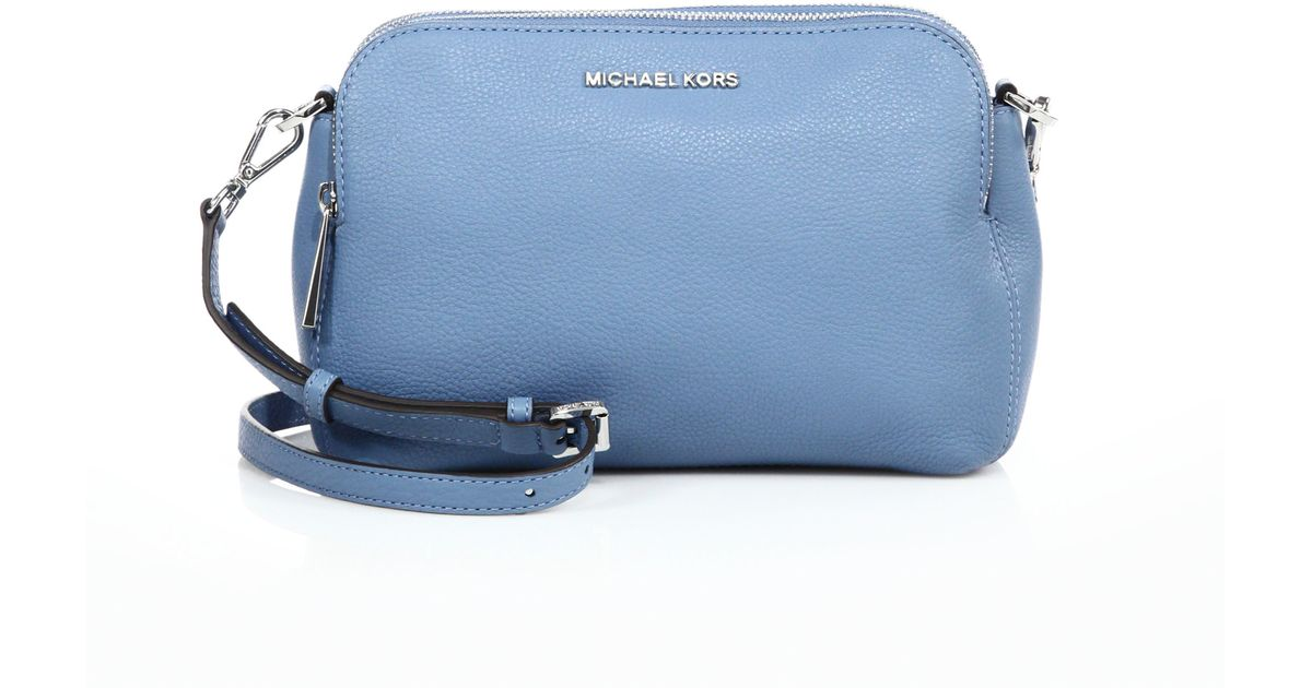 462970cf9816 ... new zealand lyst michael michael kors bedford medium double zip leather messenger  bag in blue 6158e