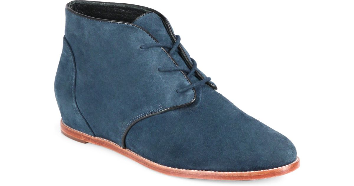 efdac9d732b3 Lyst - Rebecca Minkoff Loran Suede Lace-Up Boots in Blue