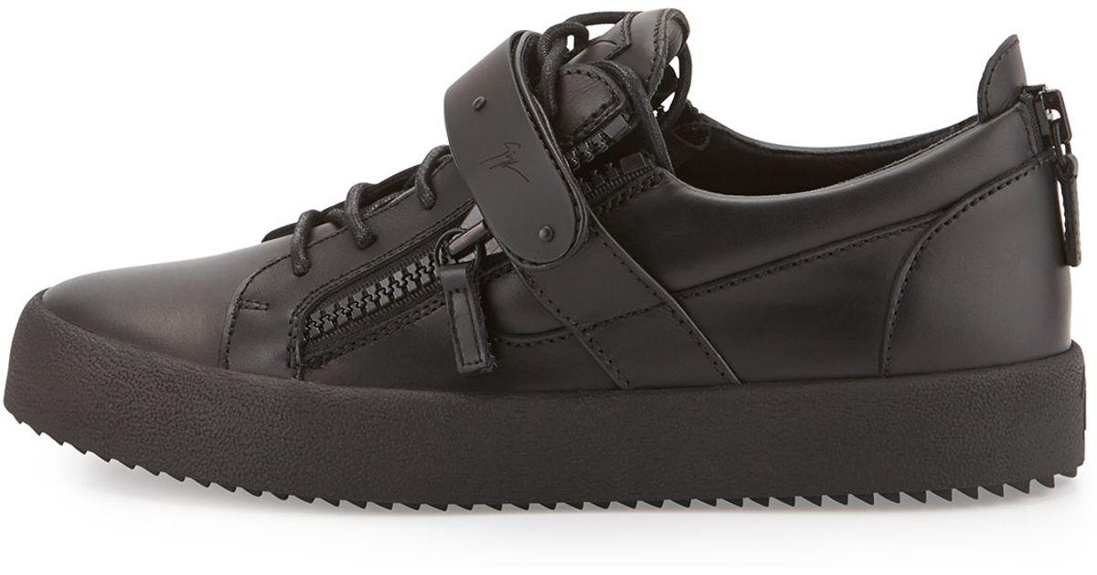 Lyst - Giuseppe Zanotti Men s Matte Zip   Buckle Low-top Sneaker in Black  for Men 8737a89eba7d