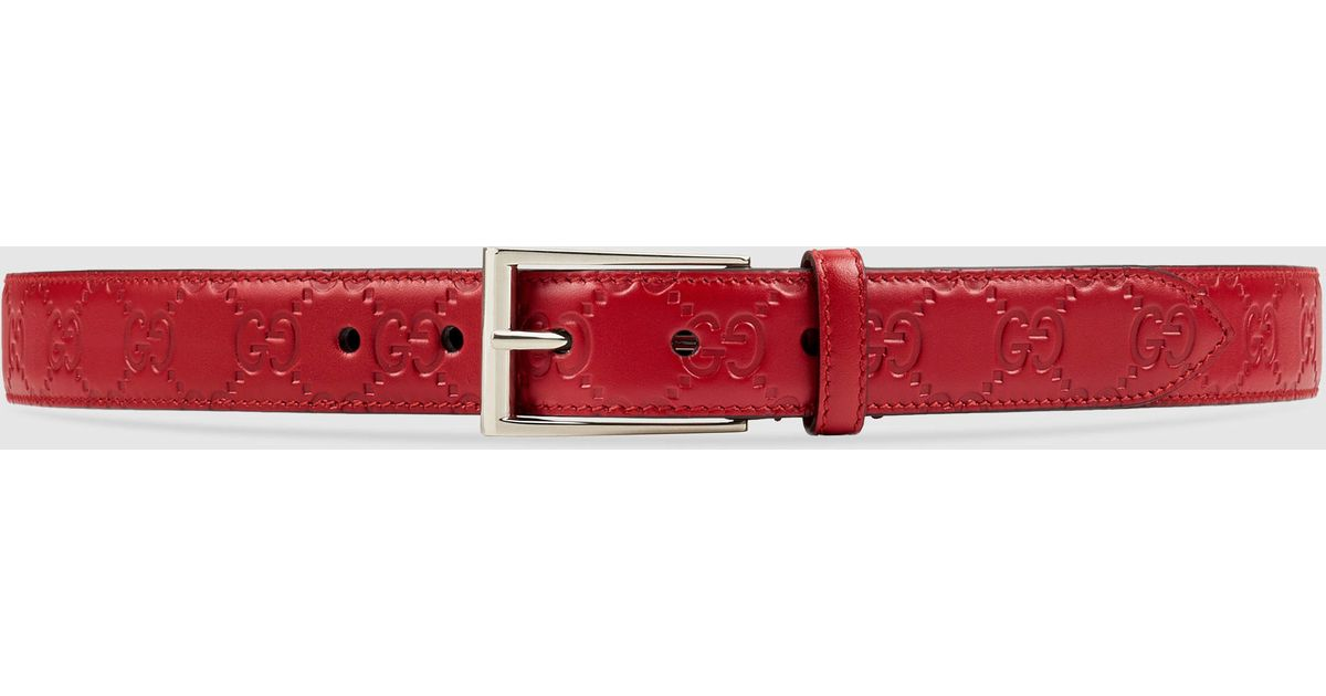 Gucci Signature Leather Belt in Red for Men | Lyst