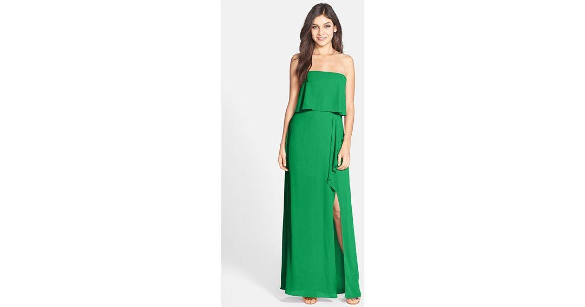 Lyst - Bcbgmaxazria \'felicity\' Georgette Popover Gown in Green