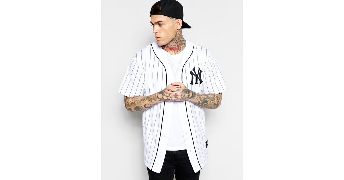 a2dfd1b6 Majestic New York Yankees Longline Baseball Jersey Exclusive To Asos in  White for Men - Lyst
