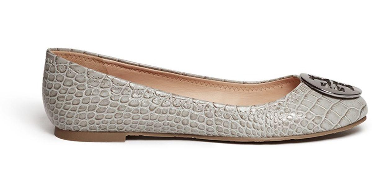 f2f5c902f500 Lyst - Tory Burch  reva  Crocodile Print Ballet Flats in Gray