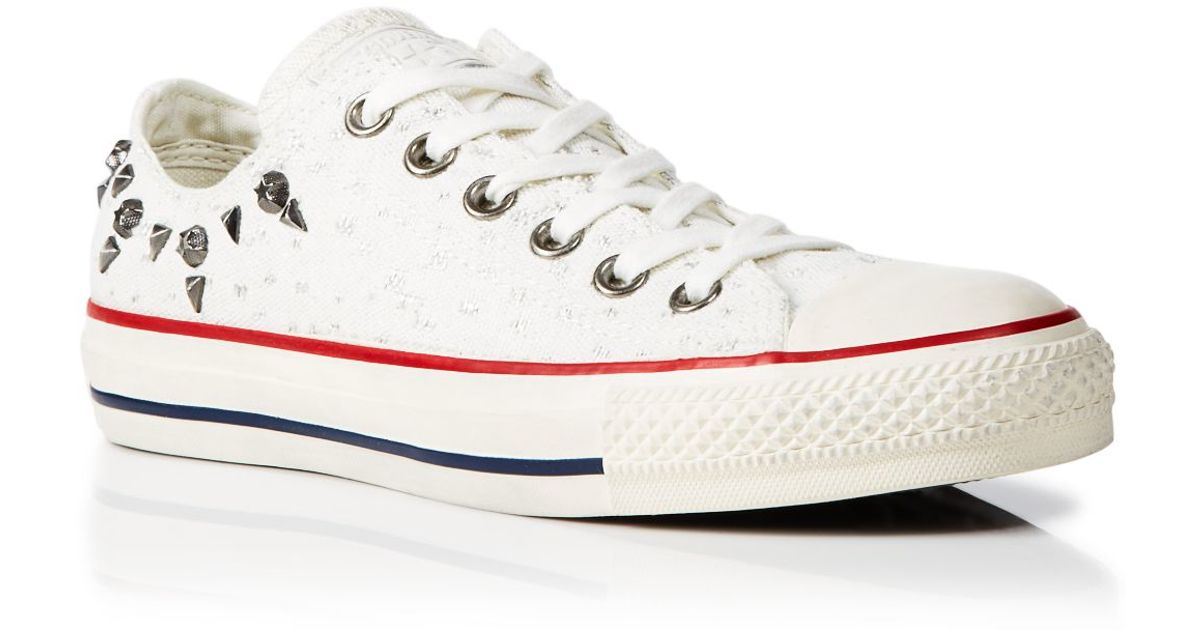 6a8f8b617fbc Converse Converse Up Low Lurex Lyst Studded White Star Lace Sneakers Top In  RrARw