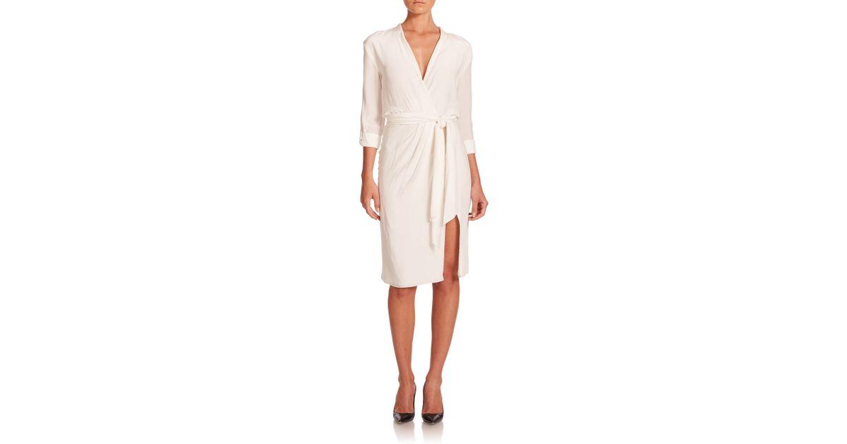 Lyst Alice Olivia Tristan Wrap Dress In White