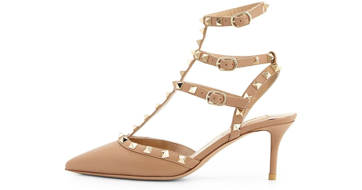 valentino rockstud leather kitten heel pumps purple in beige lyst. Black Bedroom Furniture Sets. Home Design Ideas