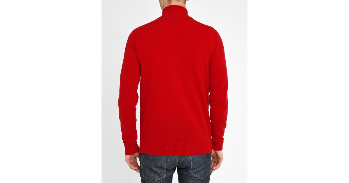 lacoste red navy zip neck new wool sweater with grey trim in red for men lyst. Black Bedroom Furniture Sets. Home Design Ideas