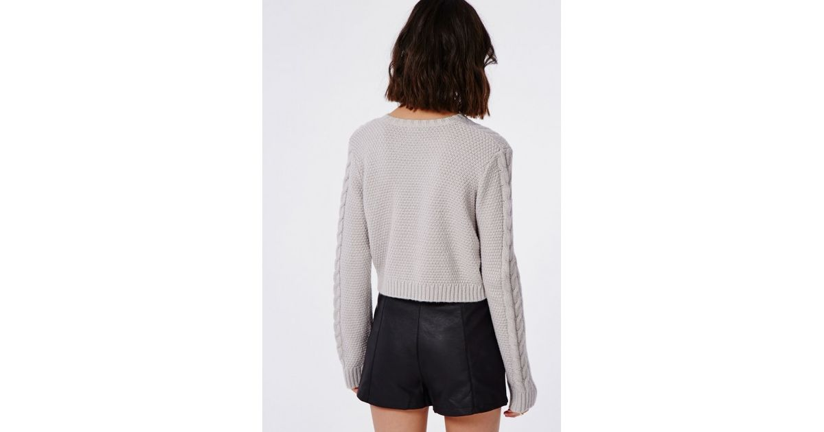 Lyst - Missguided Cropped Cable Knit Oversized Slouch Sweater Grey in Gray 9665ee7d2