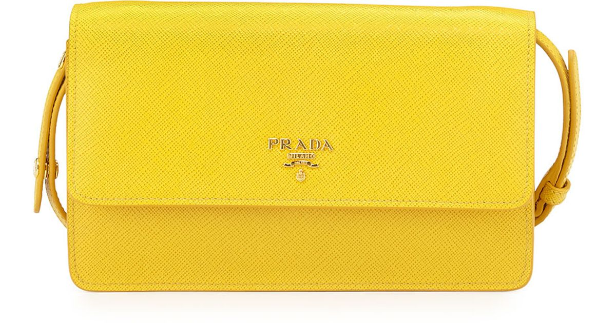 3d1af0065251 ... sale prada saffiano mini cross body bag in yellow lyst 5f749 97291