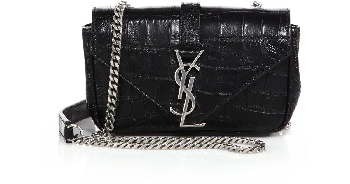 fake ysl bag - monogram croc-embossed clutch bag, white