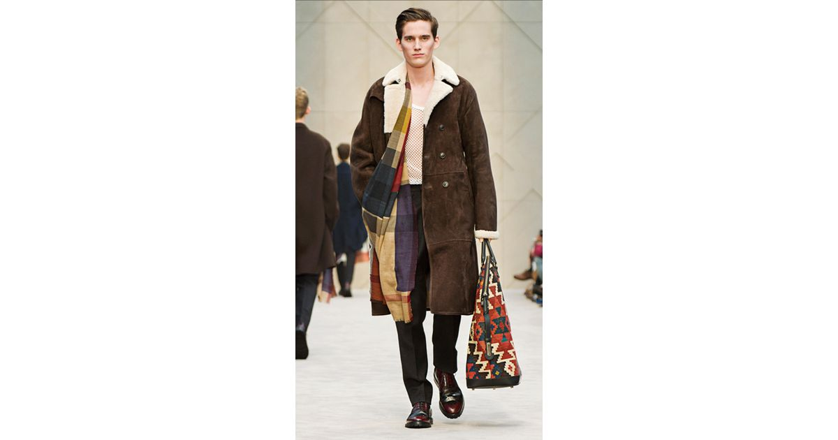 Burberry Sheepskin Trench Coat in Brown for Men | Lyst