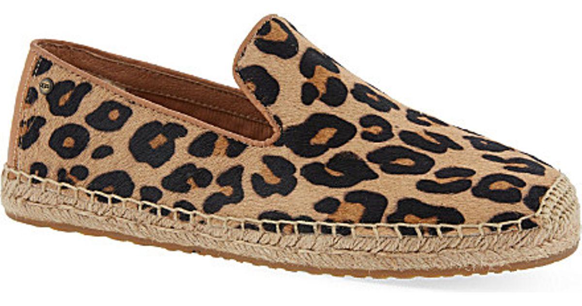 Ugg Sandrinne Calf Hair Leopard Print Espadrilles For Women In Brown Lyst