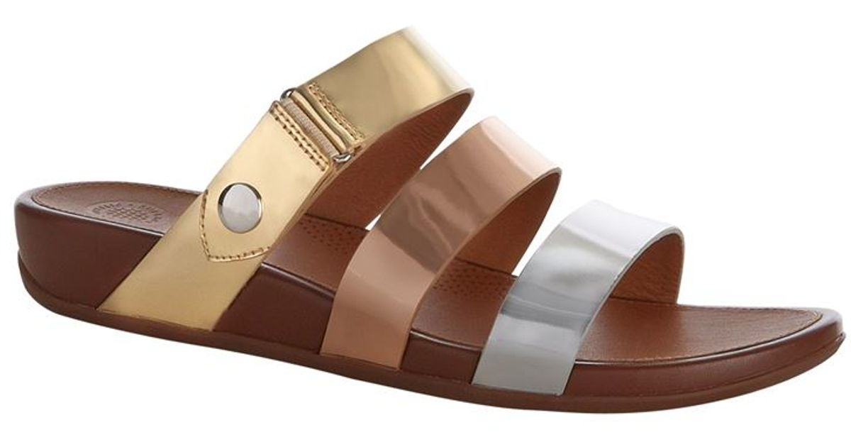 c8c922c802e8 Fitflop Gladdie Multi-strap Slide Sandal in Metallic - Lyst